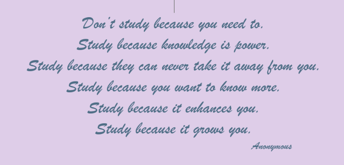 Don't study because